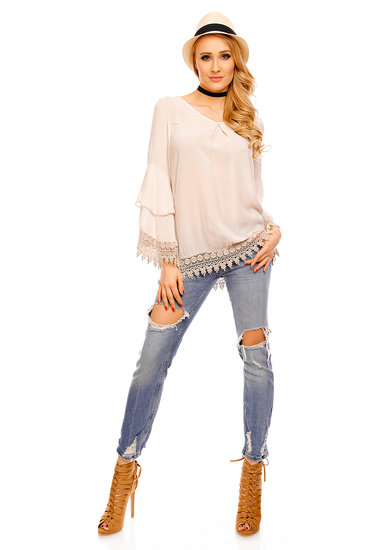 Top Long Sleeve Fabio 8586 Beige - One Size