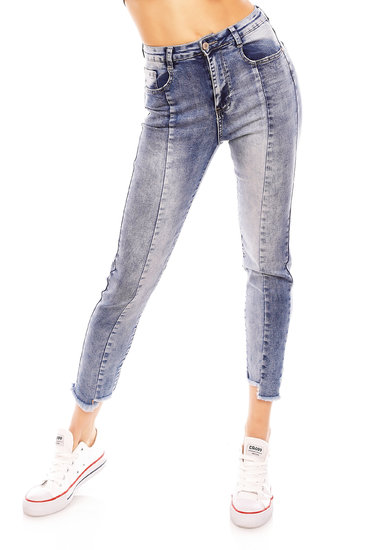 Damen Hose Jeans Look Skinny Denim Taille Stretch Dünn Slim Businesshose 4D265