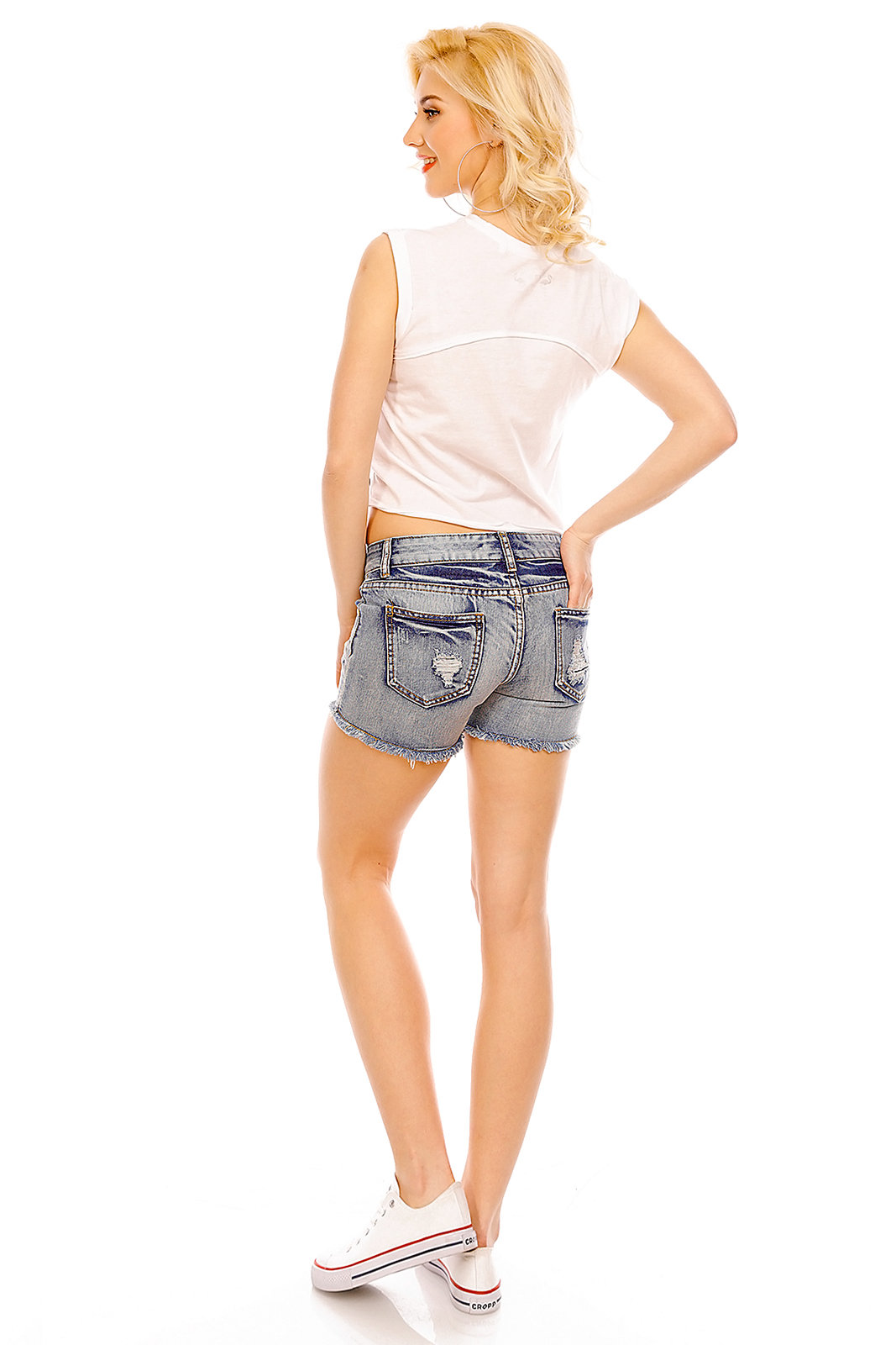 Damen Jeans Hose Skinny Shorts Denim Löcher Destroyed Ripped Pants BS-302 Blau