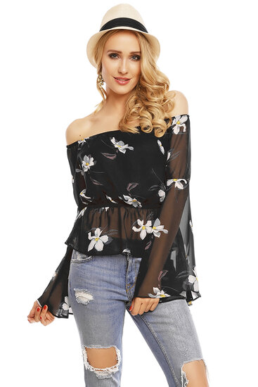 Top Long Sleeve Voyelles L472 Black S