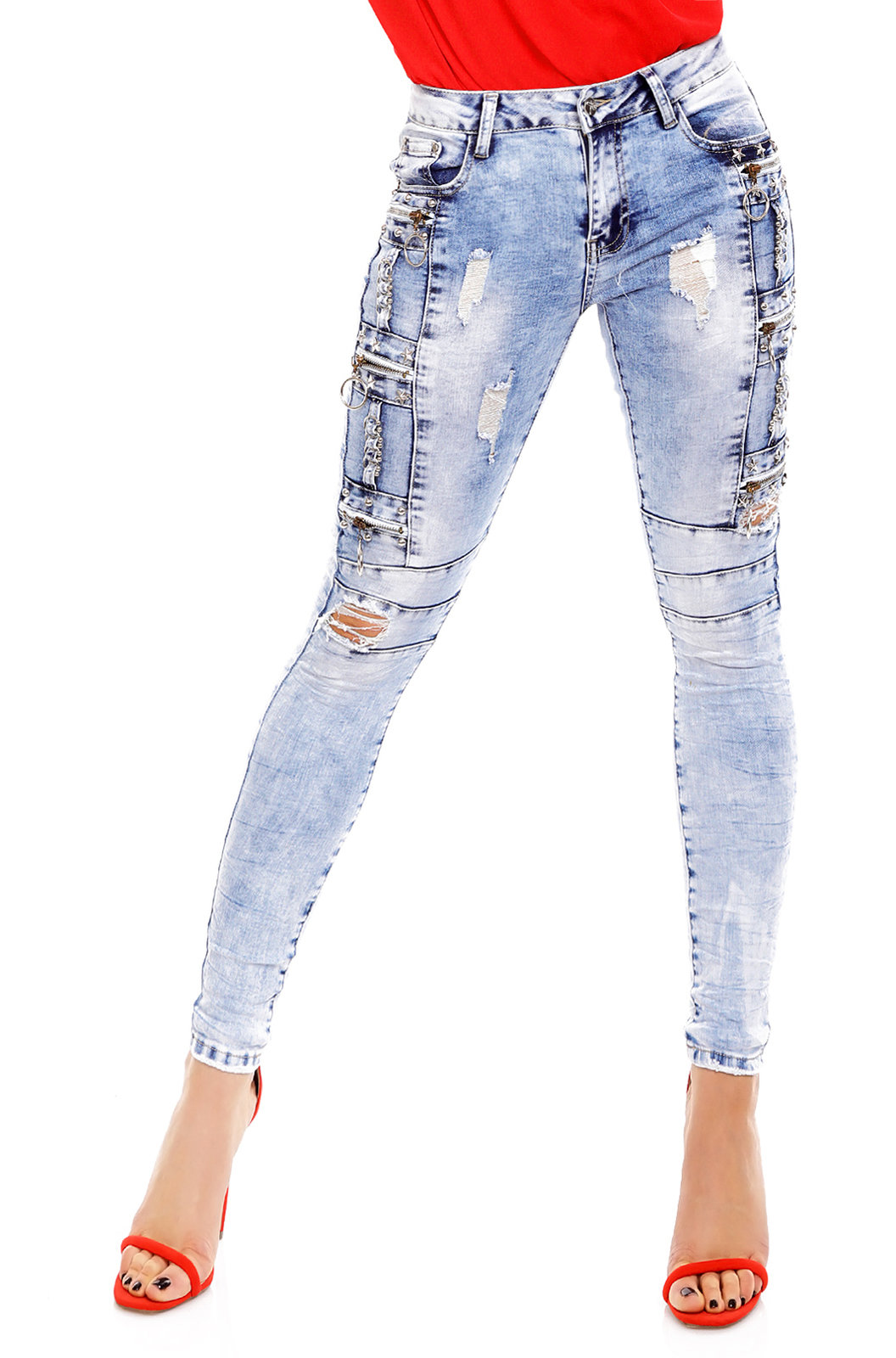 Original Damen Skinny Destroyed Jeans Hose Röhrenjeans Ripped Look E1965 blau