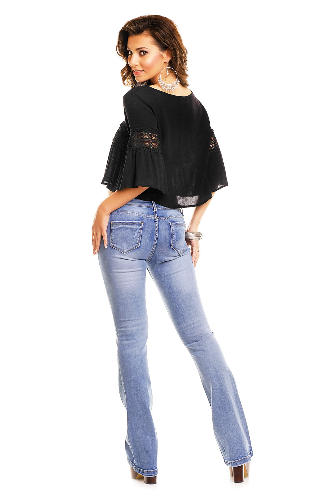 Mayaadi Damen Sexy Ibiza Bluse Strick Shirt Patry Top Tunika Sweatshirt MC3438